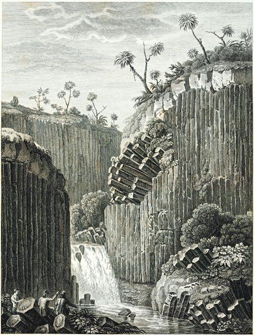 Grabado de Alexander Von Humboldt de los Prismas Basalticos