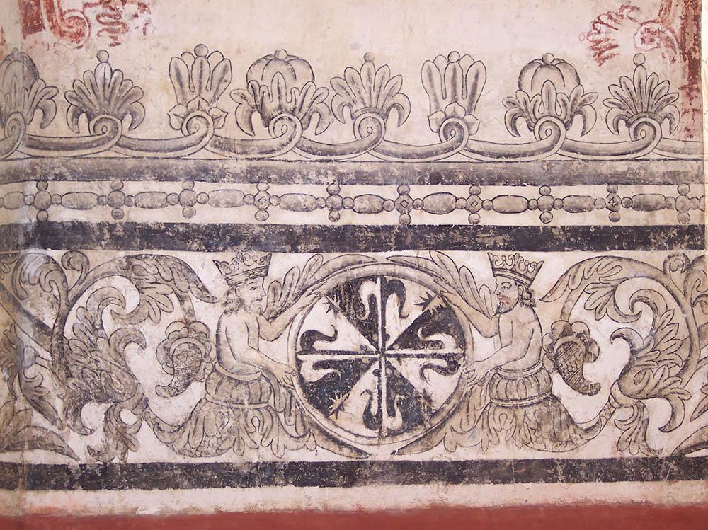 Tritones y flor de lis en la pintura mural del Convento de Tepoztlan